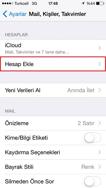 iPhone E-posta Kurulumu